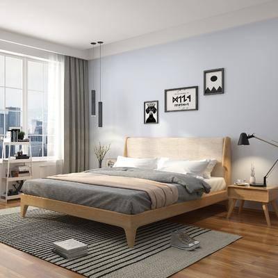 卧室, 双人床, 床头柜, 台灯, 装饰画, 挂画, 照片墙, 吊灯, 床具组合, 摆件, 装饰品, 陈设品, 北欧