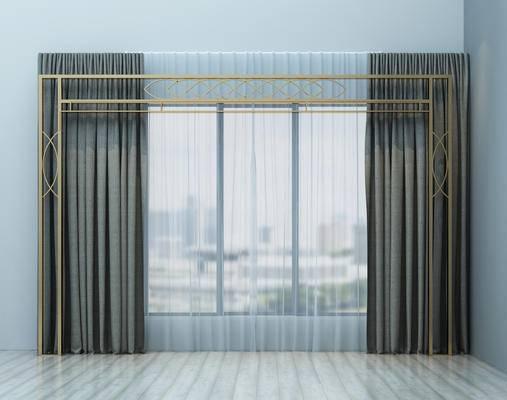 现代, 窗帘, 装饰架