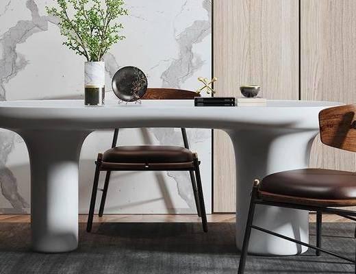 餐桌, 桌椅组合, 花瓶, 摆件