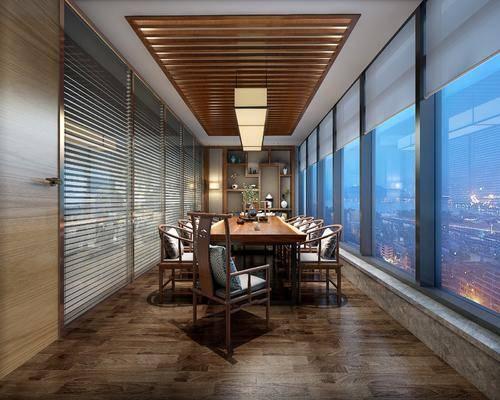 会议室, 会议桌, 单人椅, 茶具, 吊灯, 装饰品, 陈设品, 新中式
