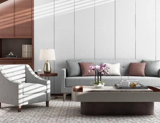 客厅, 沙发, 茶几, 台灯, 椅子, 装饰品
