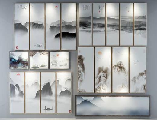 装饰挂画, 照片墙, 挂画组合, 新中式