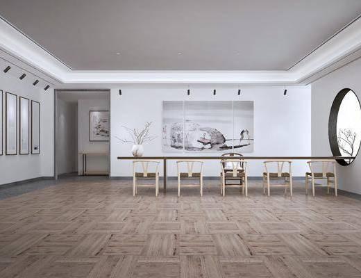 展览, 展厅, 桌椅组合, 装饰画