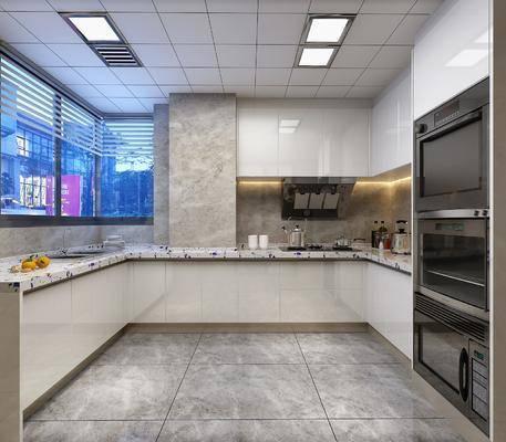 厨房, 橱柜, 厨具, 烤箱, 洗手台, 现代
