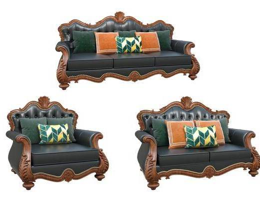 欧式, 沙发, 组合