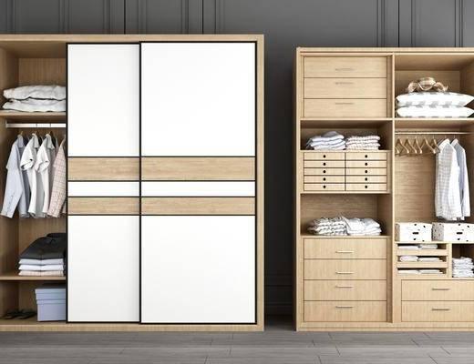 衣柜组合, 装饰柜, 服饰, 现代轻奢