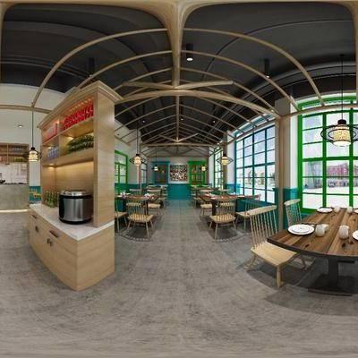 餐厅, 北欧工业风餐厅, 工业风, 餐桌, 桌椅组合, 椅子, 单椅, 置物柜, 吊灯, 全景图, 前台, 收银台, 北欧