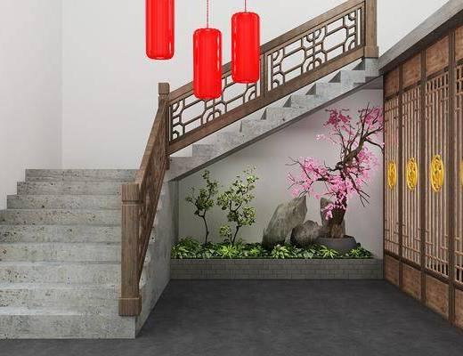 楼梯, 景观隔断, 中式, 双十一