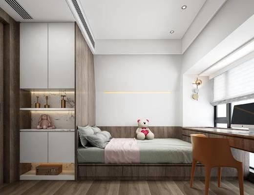 床, 玩具, 雕塑, 摆件, 窗帘, 百叶帘, 休闲椅, 电脑, 榻榻米, 现代卧室
