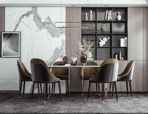 餐桌椅, 吊灯, 玄关柜, 柜子, 摆件