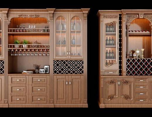 酒柜, 装饰柜, 摆件, 装饰品, 陈设品, 美式