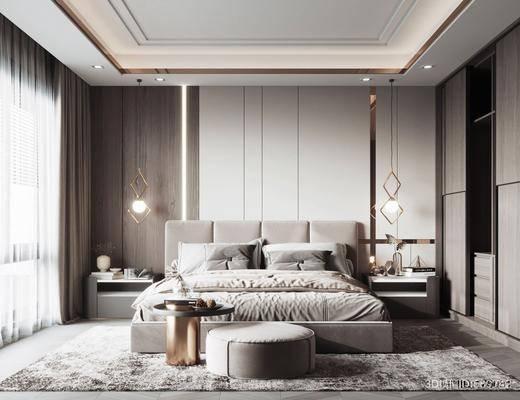 双人床, 床头柜, 吊灯, 现代卧室