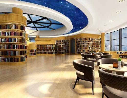 图书馆, 桌子, 单人椅, 书柜, 书籍, 书架, 现代