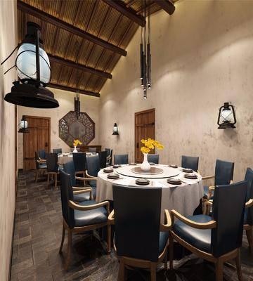 餐厅, 包间, 包厢, 包房, 新中式, 中式, 餐桌椅, 桌椅组合, 盆栽, 吊灯
