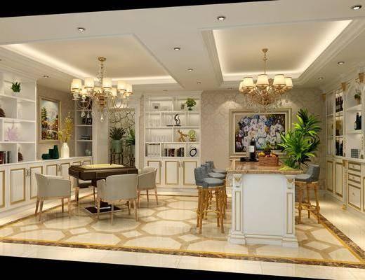 麻将房, 桌椅组合, 吊灯, 置物柜, 装饰画