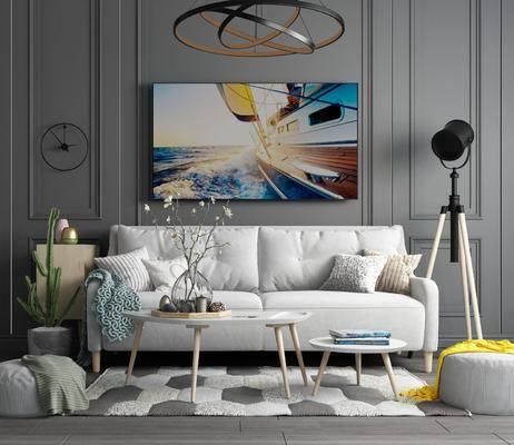 沙发组合, 双人沙发, 多人沙发, 茶几, 脚踏沙发, 摆件, 装饰品, 陈设品, 吊灯, 装饰画, 挂画, 花瓶花卉, 北欧