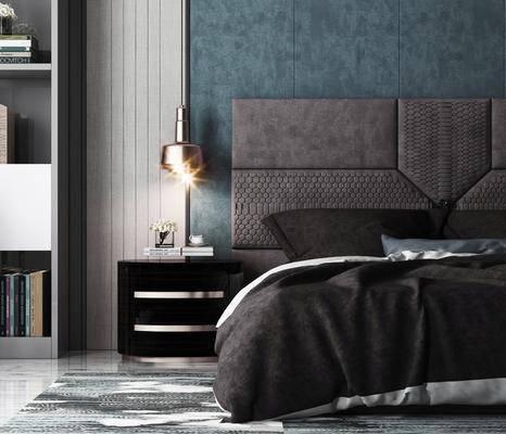 床具组合, 现代床具组合, 双人床, 摆件, 床头柜, 吊灯, 书柜, 书籍, 现代