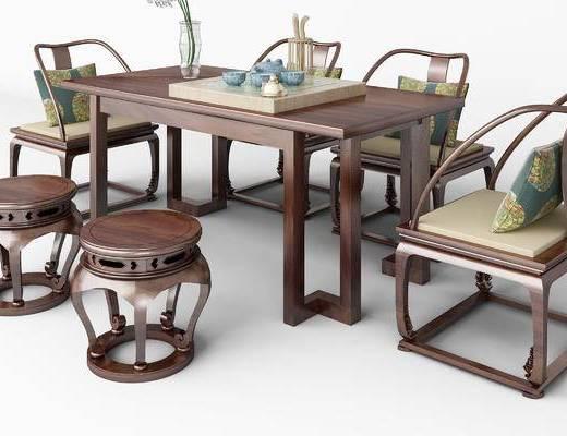 桌椅组合, 凳子, 单椅, 椅子, 中式, 新中式, 茶具, 茶桌