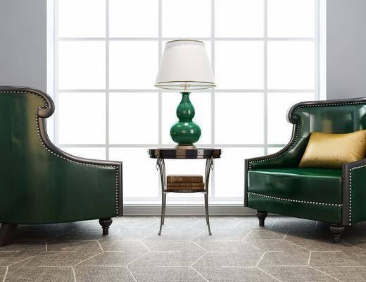 桌椅组合, 桌椅, 椅子, 单椅, 圆几, 台灯, 美式
