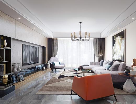 现代简约, 客厅, 沙发茶几组合, 吊灯, 摆件