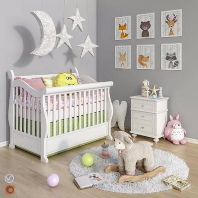 美式实木婴儿床, 玩具, 边柜, 挂画