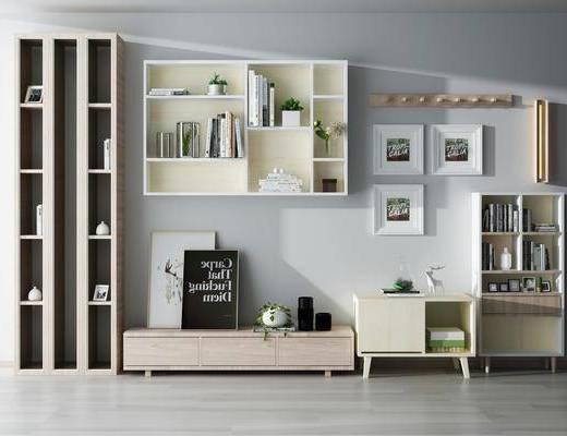 现代书柜电视柜组合, 现代, 书柜, 电视柜, 装饰柜, 装饰画, 植物, 把剑
