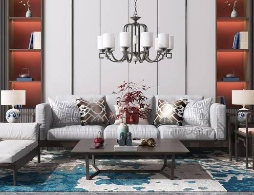 休闲单人椅子, 边几台灯, 吊灯, 书柜, 摆件