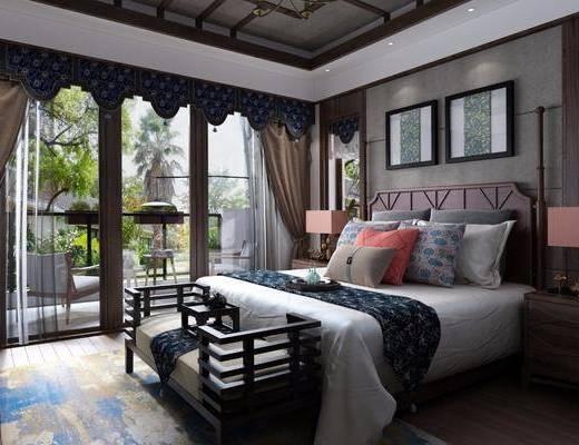 卧室, 双人床, 床头柜, 台灯, 床尾凳, 装饰画, 挂画, 装饰柜, 边柜, 单人椅, 摆件, 装饰品, 陈设品, 东南亚