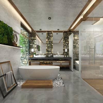 卫生间, 浴缸, 洗手台, 装饰镜, 植物绿植, 北欧