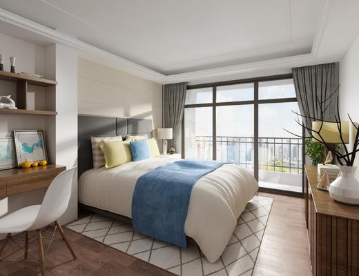 卧室, 现代卧室, 阳台, 衣柜, 书桌椅, 电视柜