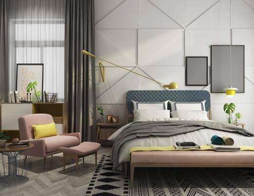 现代卧室, 床, 床头柜组合, 现代床