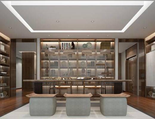 茶室, 茶桌, 单人椅, 文件柜, 书柜, 书籍, 摆件, 装饰品, 陈设品, 新中式