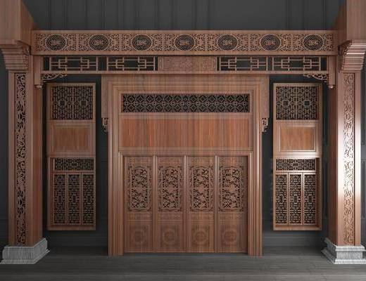 双开门, 新中式实木雕花双开门3d模型, 实木门, 雕花