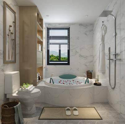 浴室, 卫生间, 浴缸, 现代浴室, 柜架组合, 置物架, 卫浴小件