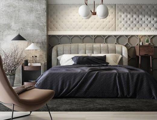 床具组合, 现代床具组合, 单椅, 椅子, 吊灯, 双人床, 床头柜, 台灯, 摆件, 装饰品, 现代