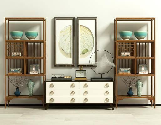 装饰架, 置物架, 边柜, 新中式, 中式, 陈设品, 摆件, 挂画, 摆设