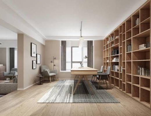 书桌, 柜子, 吊灯, 文件柜, 单椅, 装饰画