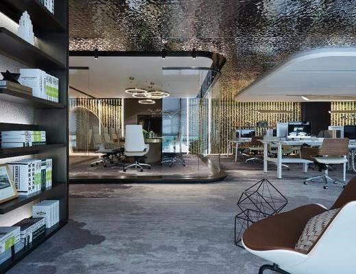现代, 办公空间, 前台, 工装