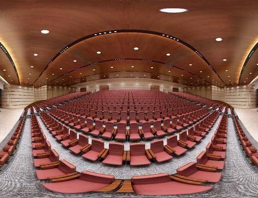 新中式大型会议室, 新中式, 会议室, 椅子, 讲台, 全景模型
