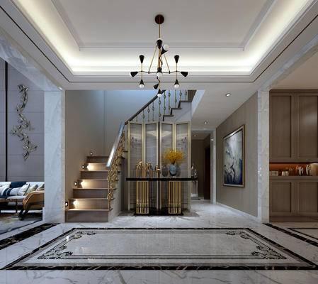 隔断, 吊灯, 楼梯, 玄关柜, 摆件组合, 端景台, 屏风