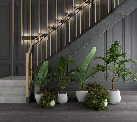 楼梯扶手, 扶手栏杆, 盆栽, 绿植植物, 盆景组合, 工业风