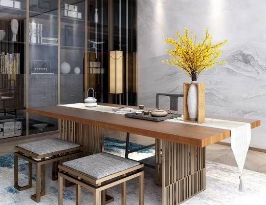 书柜, 桌凳, 大理石背景墙, 落地灯, 书房, 桌子