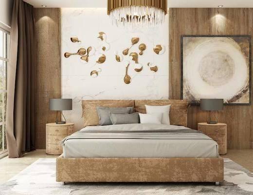 床具组合, 墙饰, 挂画, 吊灯, 台灯, 北欧