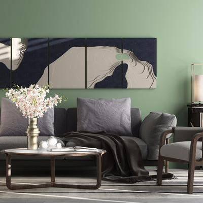 双人沙发, 布艺沙发, 边几, 茶几, 摆件, 单人沙发, 北欧