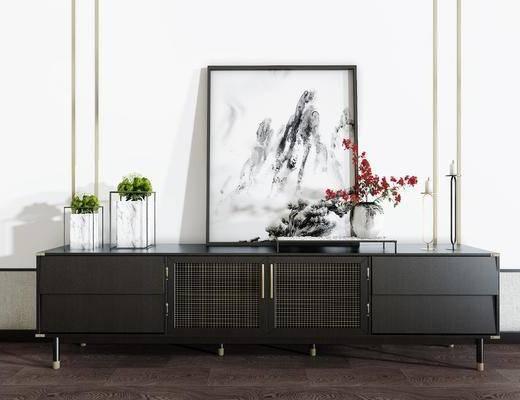电视柜, 边柜, 摆件组合, 花瓶花卉, 新中式