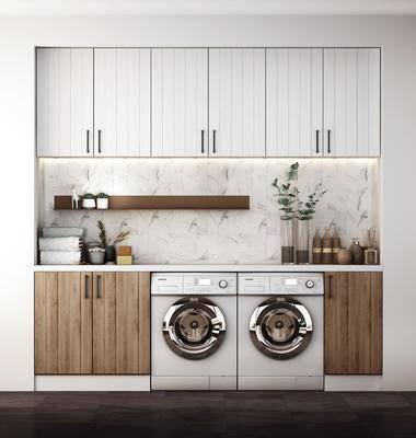 装饰柜, 洗衣机, 摆件, 装饰品, 陈设品, 花瓶, 绿植, 北欧