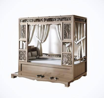 中式双人床, 双人床, 实木古床