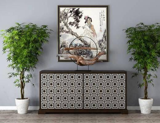 中式边柜, 玄关柜, 挂画, 盆栽