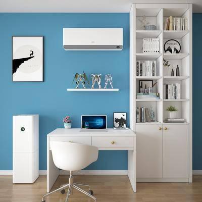 书柜书桌, 电脑桌, 单人椅, 空调, 装饰画, 挂画, 书柜, 书籍, 摆件, 装饰品, 陈设品, 盆栽, 现代