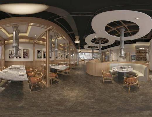 工装全景, 桌椅组合, 餐具组合, 装饰架, 摆件组合, 日式